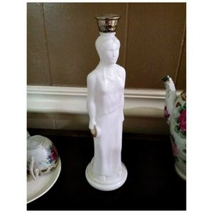 Vtg Avon Milk Glass Greek Lady Bath Oil Bottle SSS